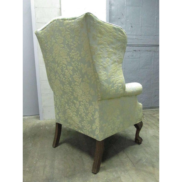 Pair of Chippendale Style Tufted Wingback Chairs For Sale - Image 4 of 8