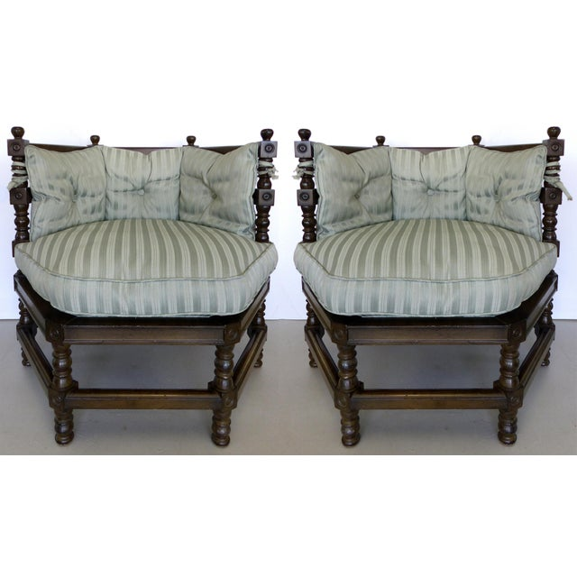 Traditional Hexagonal Club Chairs - A Pair - Image 2 of 8