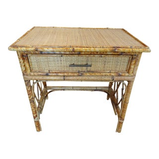 Pair of Vintage French Bamboo Tables For Sale
