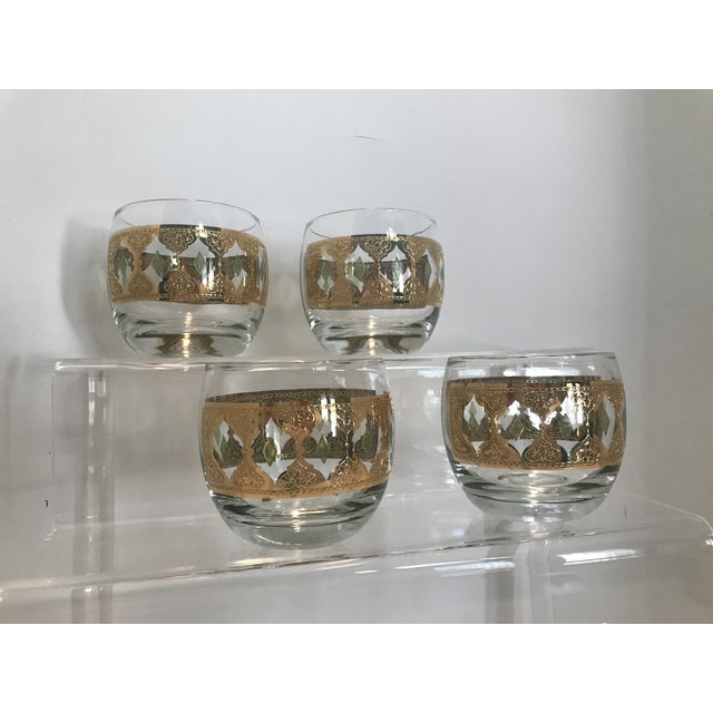 1950s 1950s Culver Valencia Green and 22k Gold Roly Poly Cocktail Glasses - Set of 4 For Sale - Image 5 of 10