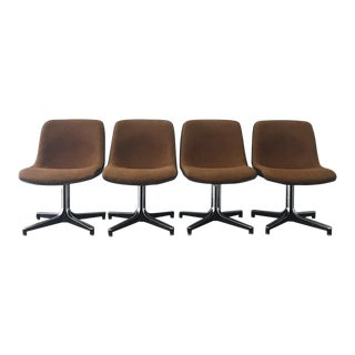 1980s Mid-Century Modern Amber Tweed Shell Chairs - Set of 4