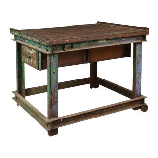 Industrial Green Coffee Table For Sale