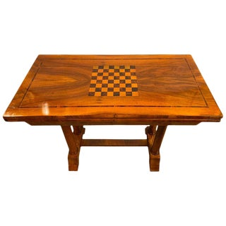 Rare Biedermeier Flip Over Game Chess Board Table Movable Top Opens Card Table For Sale