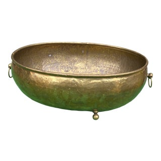 1970s Oversized Footed Brass Bowl or Planter With Handles For Sale