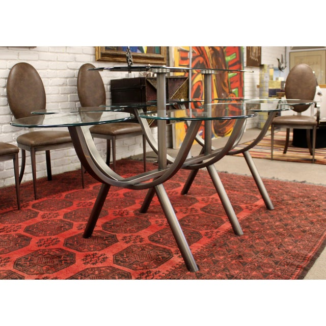 Metal Contemporary Modern Dia Circle of Life Dining Set Table Chairs 1980s Glass Steel - Set of 9 For Sale - Image 7 of 12