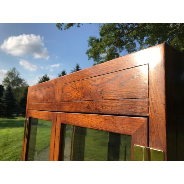 Brown Oak and Glass Display Cabinet by Henredon For Sale - Image 8 of 10