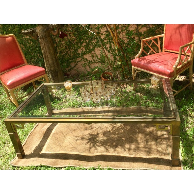 1970s Vintage Mastercraft Regency Style Brass Coffee Table For Sale In Miami - Image 6 of 10