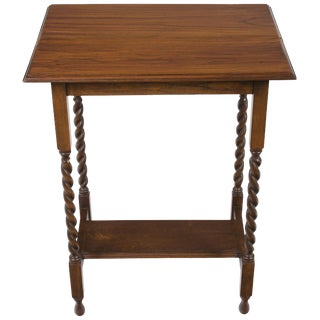 1920s Jacobean Oak Barley Twist Leg Side Table For Sale