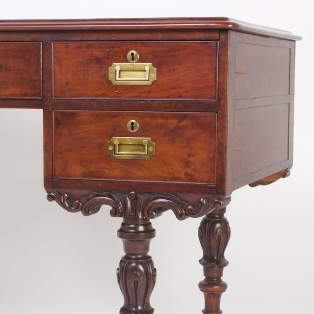 Wood Rare Antique Irish Mahogany Desk For Sale - Image 7 of 10