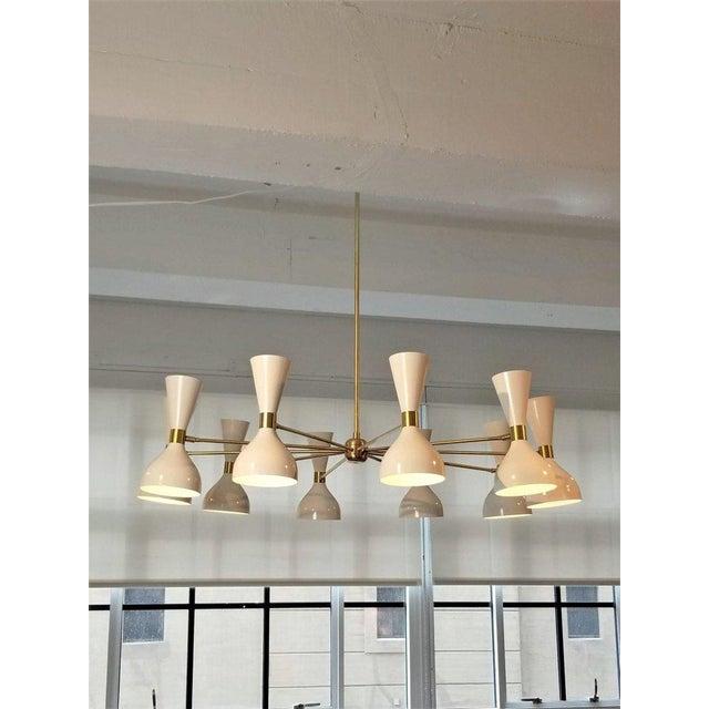 "Not Yet Made - Made To Order Blueprint Lighting Modern ""Ludo"" White Enamel & Brass Chandelier For Sale - Image 5 of 5"