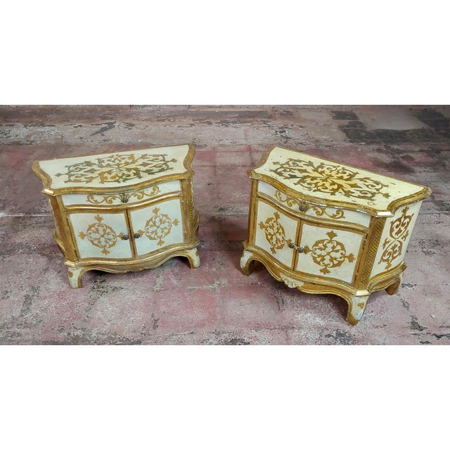 Antique Italian Florentine Small Gilt-Wood Commodes -A Pair For Sale - Image 10 of 10