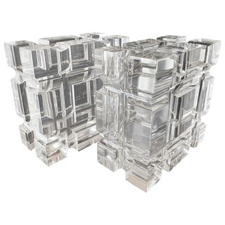 Pair of Geometric Bookends in Lucite by Amparo Calderon Tapia for Cain Modern For Sale