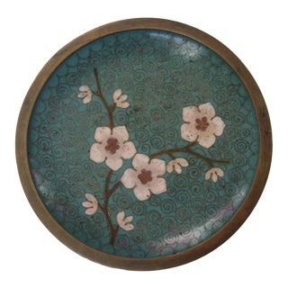 1960s Vintage Chinoiserie Teal Green Brass Cloisonné Blossom Pin Tray Dish For Sale