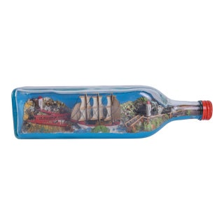 English Boat in Bottle Decorative Object For Sale