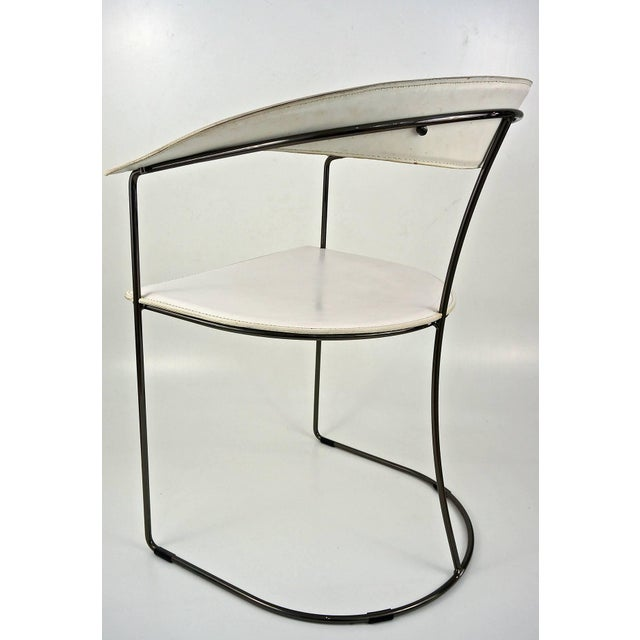 Set of Eight White Leather Chairs with Gunmetal Frames: Arrben, Italy - Image 3 of 7