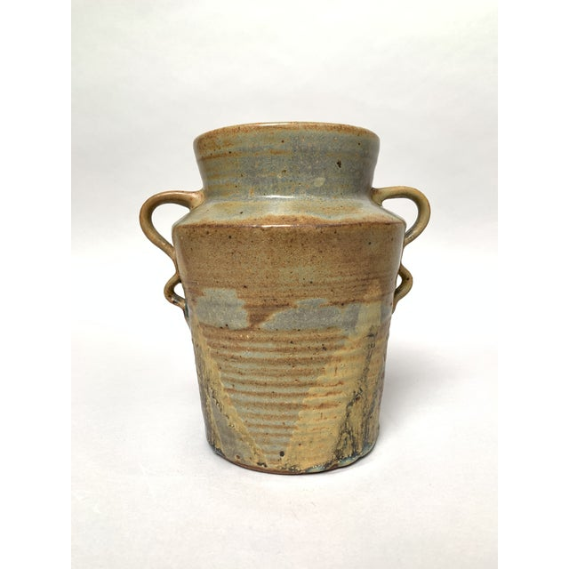 1970s Vintage Two-Handled Studio Pottery Vase For Sale - Image 12 of 12