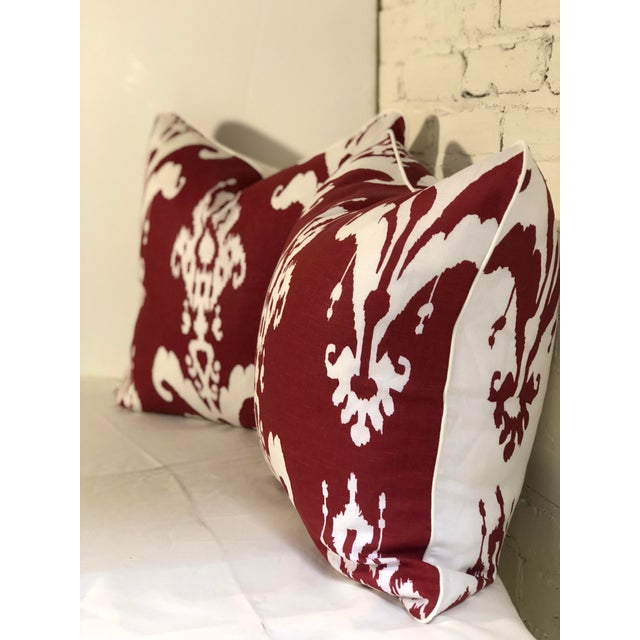 Traditional Pair of Red and White Ikat Pillows by Jim Thompson For Sale - Image 3 of 10