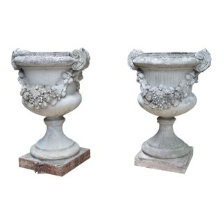 Pair of Large Antique Cast Stone Urns From Italy, Circa 1915 For Sale