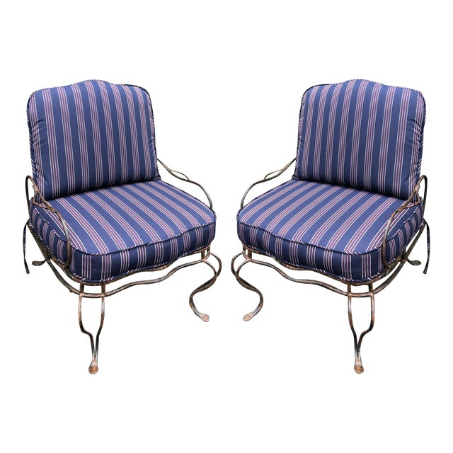 Rose Tarlow Wrought Iron Outdoor Lounge Chairs - a Pair For Sale