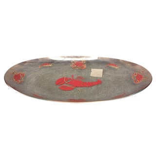 Vintage Glass Lobster Platter For Sale