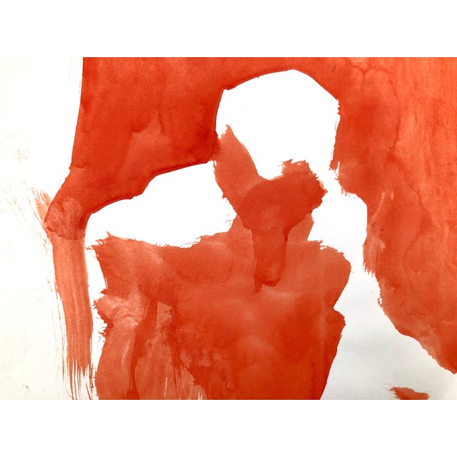 """Contemporary Figure Painting in Orange Ink, """"Seated Figure in Orange"""" by Artist David O. Smith For Sale - Image 10 of 12"""