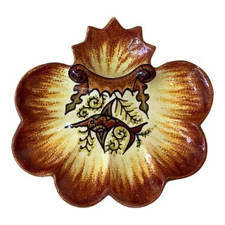 1930 Fouillen Quimper Faience French Oyster Plate For Sale