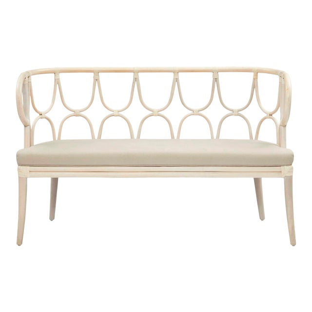Simone Bench, Linen, Rattan For Sale