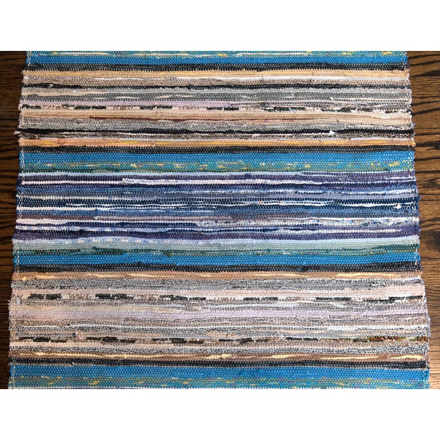 "Mid-Century Modern Handwoven Reversible Vintage Swedish Rug by Scandinavian Made 154"" x 32"" For Sale - Image 3 of 7"