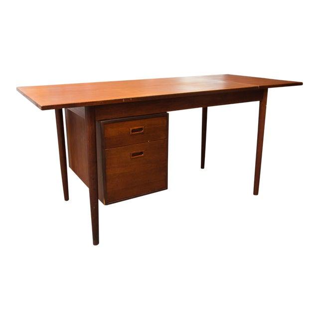 Arne Vodder Style Single Pedestal Drop-Leaf Teak Desk For Sale
