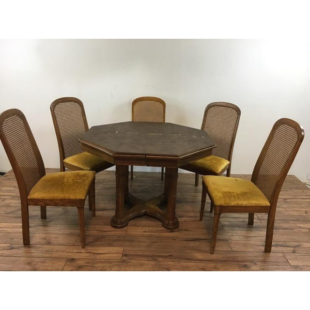 Caning Vintage Dining Table & Cane Back Chairs For Sale - Image 7 of 7