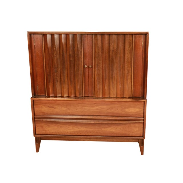 Beautiful, minimalist, Danish, modern, inspired profile. Mid century high boy Gentleman's chest with Louvered Front by...