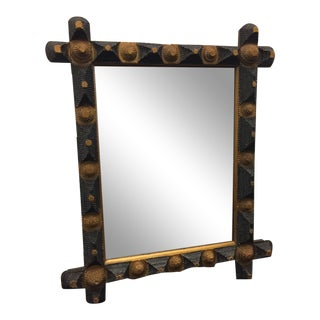 Early 20th Century Antique Tramp Art Mirror For Sale