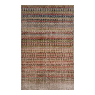 Vintage Mid-Century Brown and Green Geometric Wool Rug- 4′3″ × 7′ For Sale