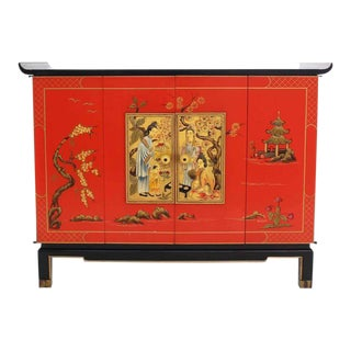 Asian Black and Red Lacquer 2-Tone Cabinet Bachelor Chest For Sale