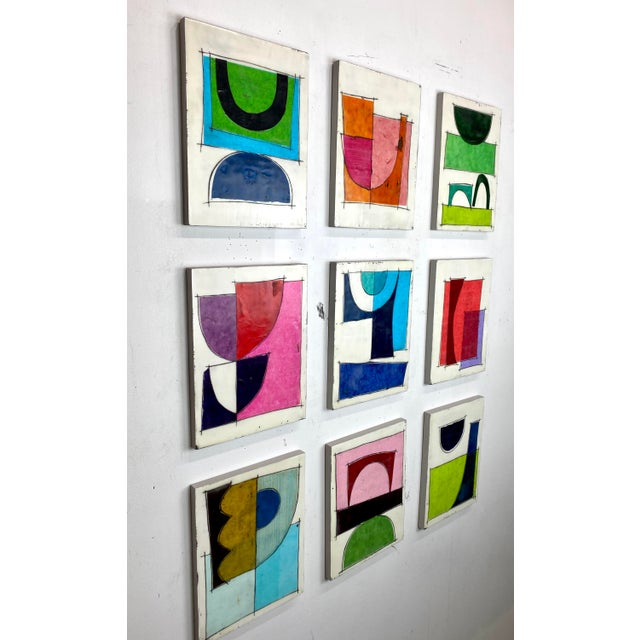 """Mid-Century Modern """"Better Days"""" Encaustic Collage Installation by Gina Cochran - 9 Panel Set For Sale - Image 3 of 13"""