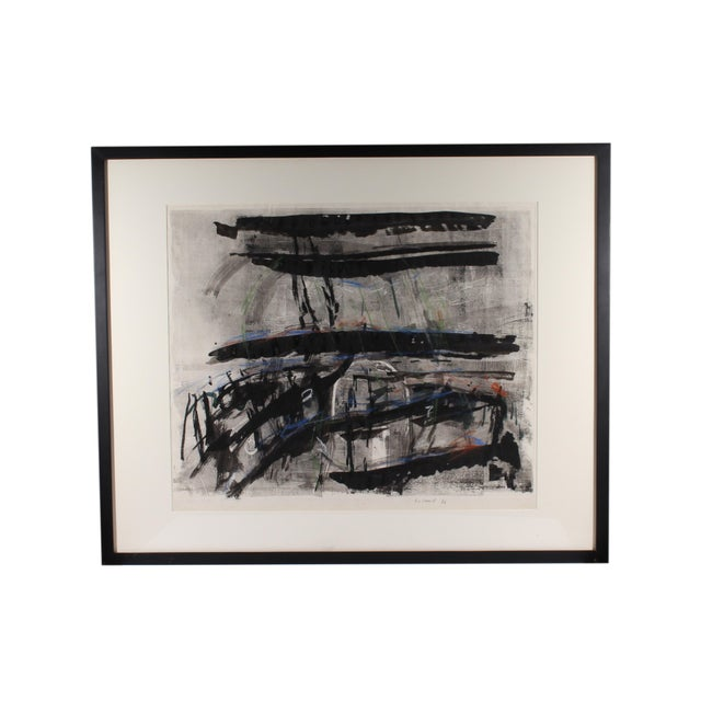 "1986 Herbert C. Cassill ""The Iron Boats"" Mixed Media Abstract Painting / Print For Sale - Image 11 of 11"
