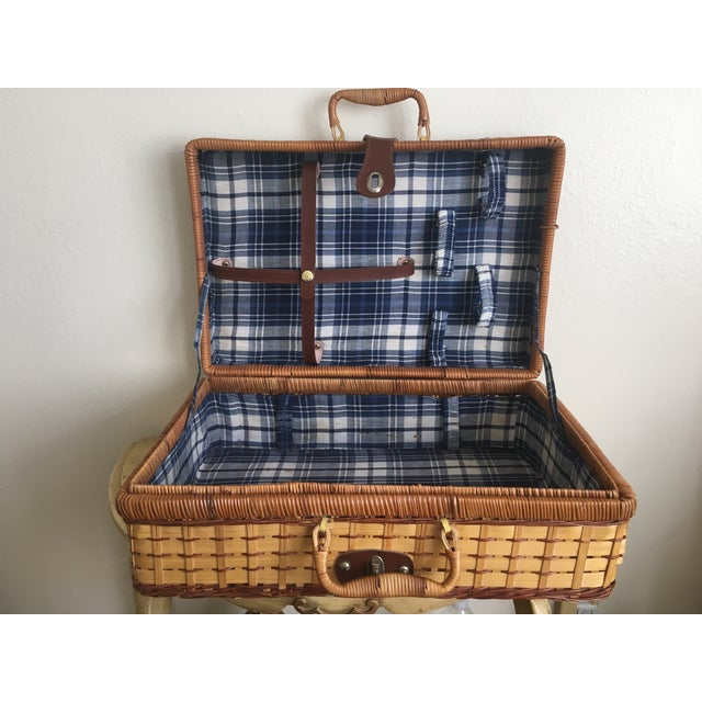 Blue Plaid-Lined Rattan Picnic Basket - Vintage - Image 2 of 11