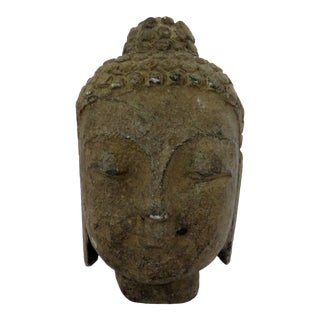 Antique Stone Buddha Head For Sale