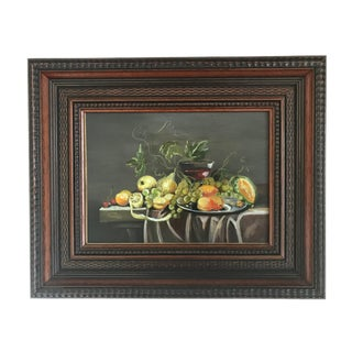 """French """"Tablescape of Fruit and Wine"""" Framed Still Life Oil Painting For Sale"""