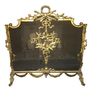 Vintage French Louis XV Style Brass Fireplace Screen For Sale