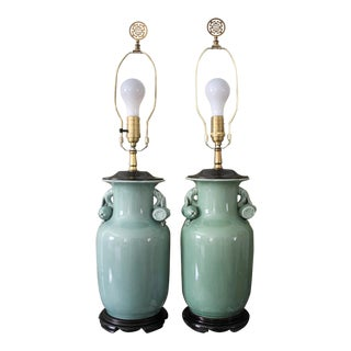 Vintage Chinoiserie Celadon Green Ginger Jar Lamps, a Pair For Sale