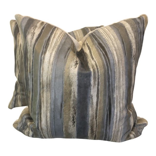"""Moore & Giles """"Valentino"""" Leather 22"""" Pillows-A Pair For Sale"""