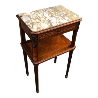Antique French Marble Top Side Table Nightstand For Sale