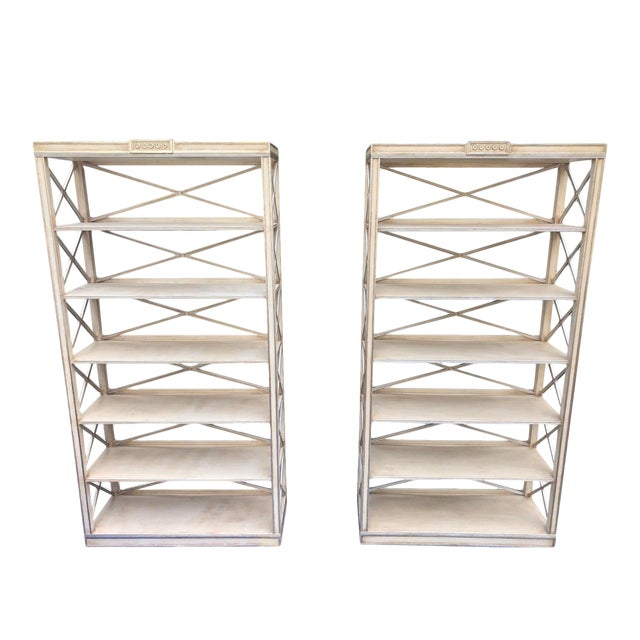 Pair of Charles Pollock Chateau White & Silver Swedish Empire Etagere Shelving Units For Sale