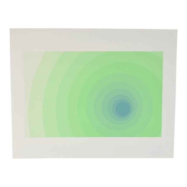 "1973 Vintage Neil Korpi ""vi - 11"" Green Spheres Op Art L/E Lithograph For Sale"