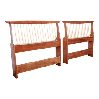 George Nakashima for Widdicomb Origins Collection Sculpted Walnut Twin Headboards - a Pair For Sale