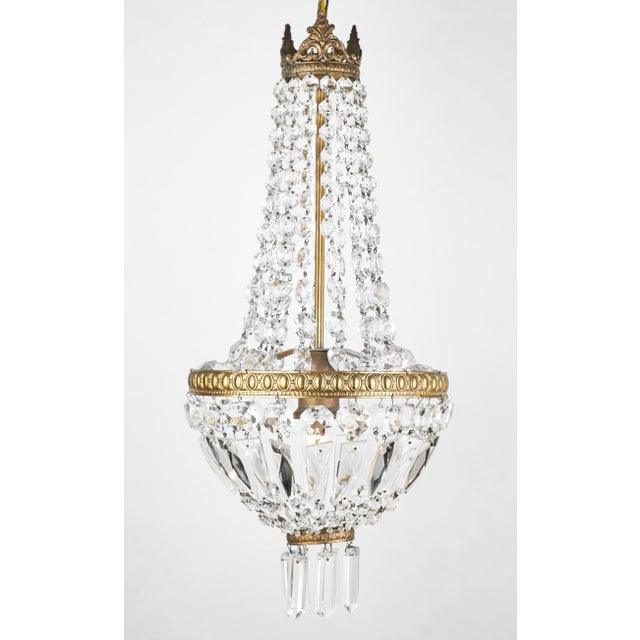 Brass Empire Style French Antique Crystal Chandelier For Sale - Image 7 of 7 - Empire Style French Antique Crystal Chandelier Chairish