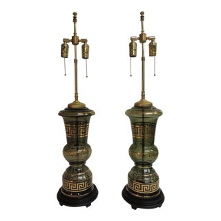 1920's Hand Blown Glass Vintage Lamps - a Pair For Sale
