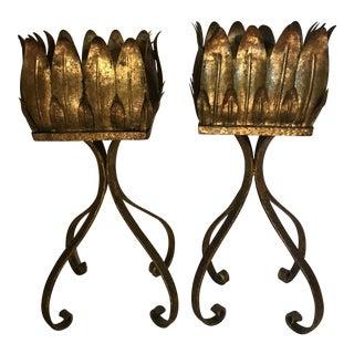 Spanish Gilded Metal Jardiniers - a Pair