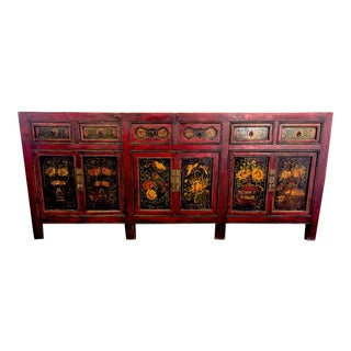 Antique 19th Century Chinese Painted Sideboard For Sale